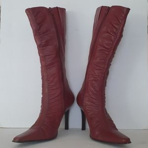 Below the knee leather burgundy boots